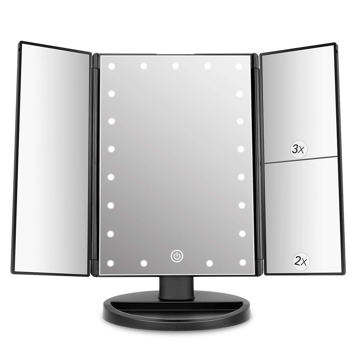 deweisn Trifold Lighted Vanity Mirror with 21 LED Lights,   save 15%