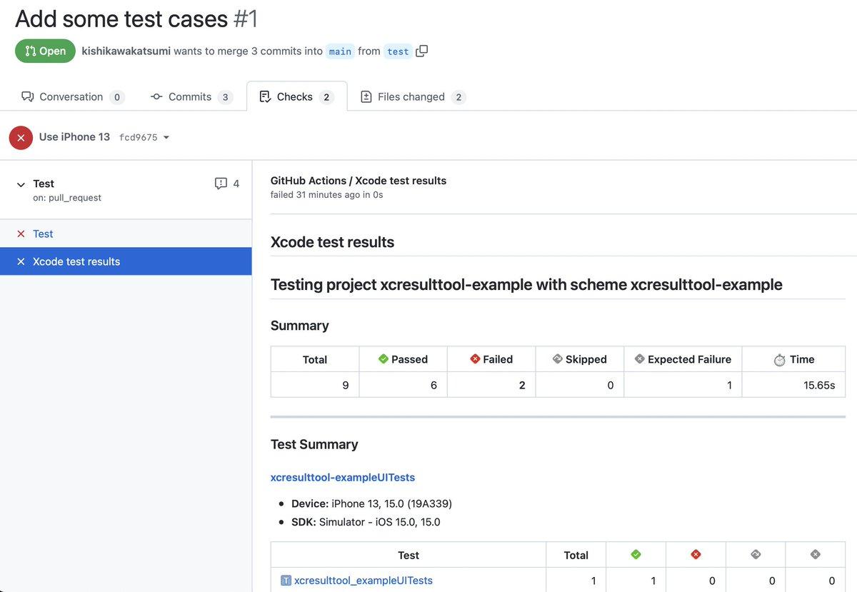 xcodebuildの結果(ログやテストの成否、スクリーンショットなど)をResult Bundleを解析してGitHub Checksのタブにわかりやすく表示するGitHub actionを作りました。CIが失敗したときにログを見にいくのは面倒なので便利です😄試してみてください。
