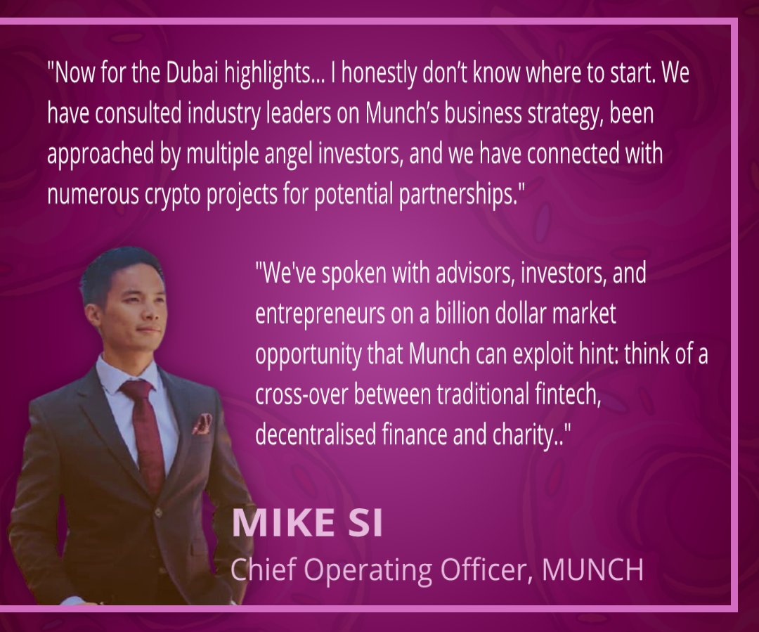 We've got some major $MUNCH updates from our COO @Mikesi30, following the teams trip to #WBSDubai   It was a very successful outing, and the core team made a lot of new connections and friends!😉  Stay up to date with the latest news by joining our TG at t.me/munchtokencom