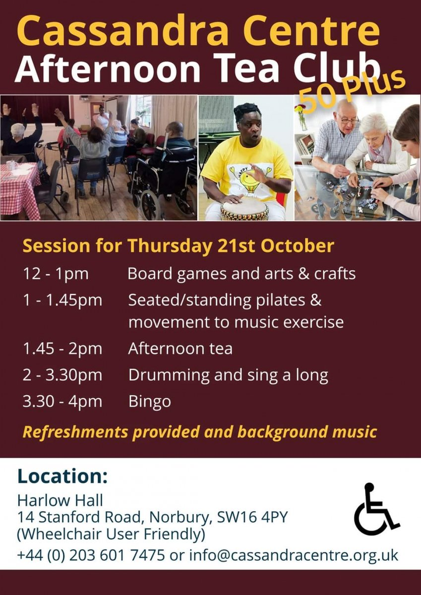 TODAY: Cassandra Centre Afternoon Tea Club for 50+ cassandracentre.org.uk/events/ @cassandracentre