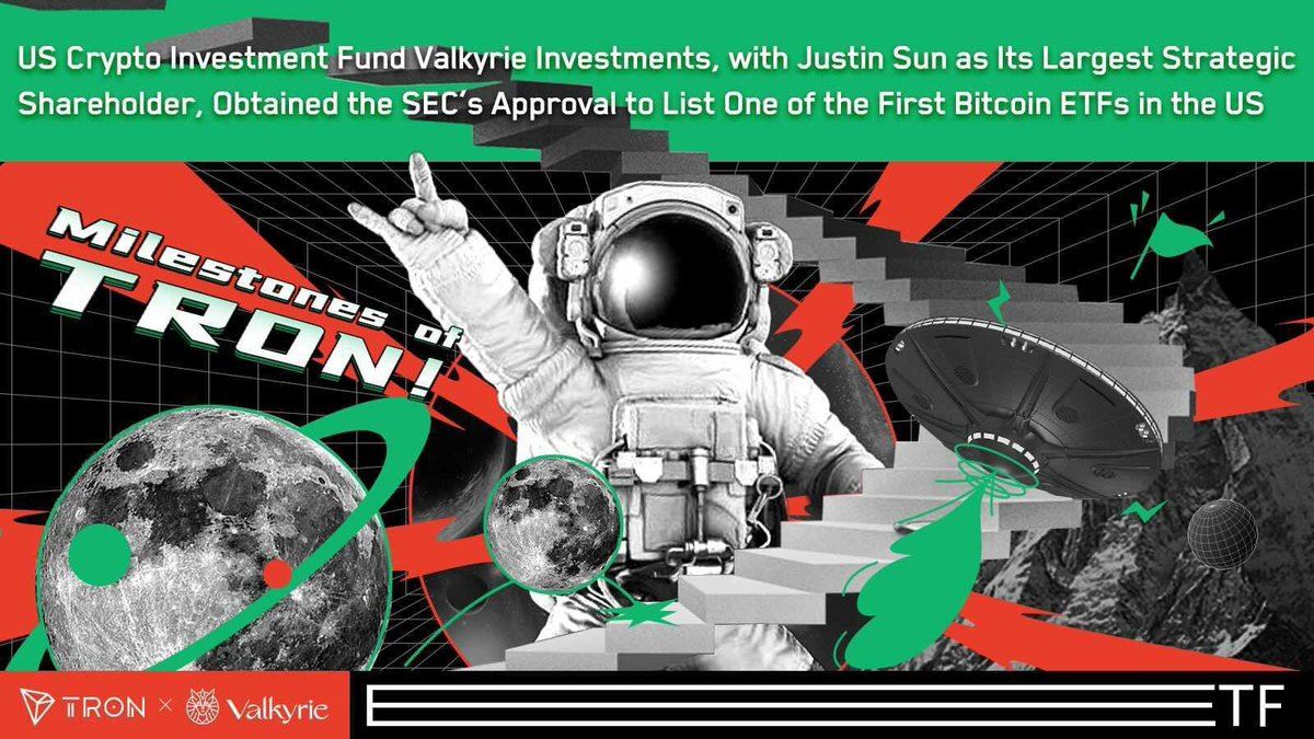 (1/3) 🚀Super exciting announcement for all #TRONICS  @ValkyrieFunds, with @justinsuntron as its largest strategic investor, has won the high stake race to win the SEC approval for launching one of the first #Bitcoin #ETFs in the US. 🔥