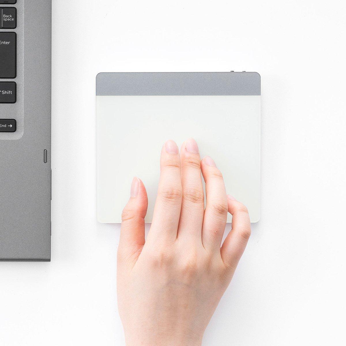 タッチ&スワイプでPC操作ができますスマホ感覚でPC操作ができるBluetoothタッチパッドが発売 軽い力で動いて手首に優しい