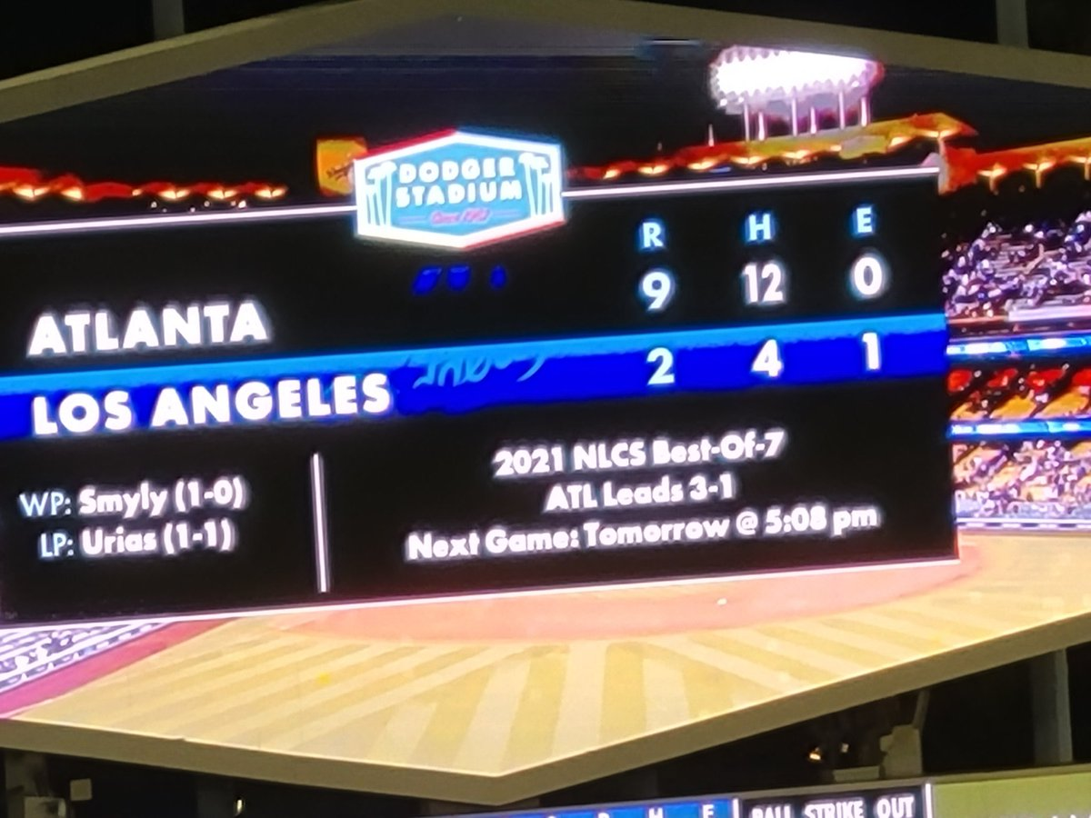 Tough loss for the Dodgers but a very good game for Braves fans. Enjoyed watching this one live.