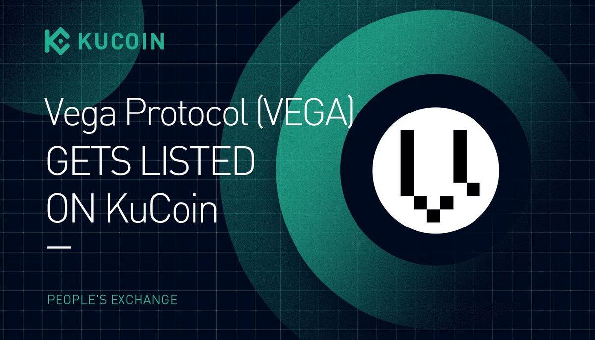 📢 NEW LISTING @vegaprotocol $VEGA gets listed on #KuCoin! 🔹Pairs: VEGA/USDT, VEGA/ETH 🔹Deposit: now open (network: ERC-20) 🔹Trading: 10:00 am on Oct 22, 2021 (UTC) 🔹Withdrawal: 10:00 am on Oct 23, 2021 (UTC) Details: kucoin.com/news/en-vega-p… #DeFi