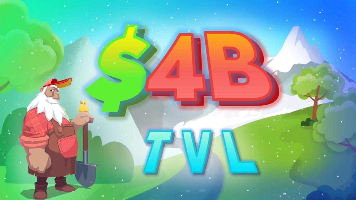 gm + gb to the Trader Joe Community New Milestone: $4billy TVL 🎉 #stilljoe ♻ RT to win: 5 of you will share $1k!