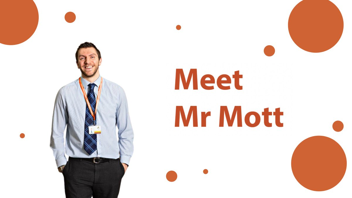 Meet Mr Mott, he is our Curriculum Leader of English 👋🏼 In his spare time you can find him playing football or gaming ⚽️🎮 Mr Mott's fave thing about teaching is watching young people's enthusiasm for English grow, and seeing that lightbulb moment when they grasp something new💡