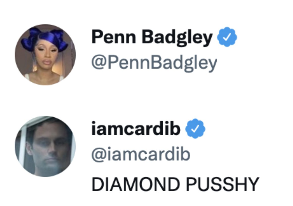 The friendship we didn't know we needed until now 🧢 💅ICYMI Cardi B and Penn Badgley have now swapped profile pictures and we can't cope 😩