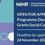 Image for the Tweet beginning: Applications are welcomed for NIHR