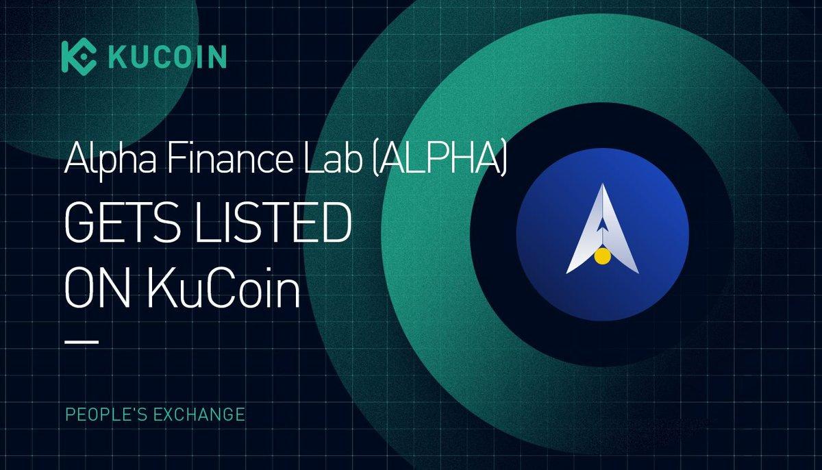 📢NEW LISTING @AlphaFinanceLab $ALPHA gets listed on #KuCoin! 🔹Pairs: ALPHA/USDT, ALPHA/BTC 🔹Deposit: now open (networks: ERC20, BEP20) 🔹Trading: 9:00 am on Oct 22, 2021 (UTC) 🔹Withdrawal: 10:00 am on Oct 23, 2021 (UTC) Details: kucoin.com/news/en-alpha-… #DeFi #YieldFarming