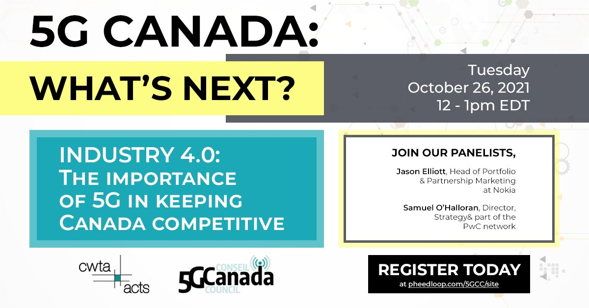 """test Twitter Media - Join us Tuesday!   On October 26th at 12pm eastern, join CWTA and the 5G Canada Council as we resume our """"5G Canada: What's Next?"""" series. The next event will look at Industry 4.0 and the importance of 5G in keeping Canada competitive.   Register here: https://t.co/wp6es29oXU https://t.co/wLfduiDo5M"""