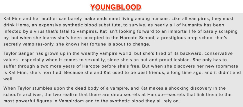 ICYMI: The cover for YOUNGBLOOD dropped yesterday! Here it is in all its glory... #LesbianVampireBoardingSchool   Add it on Goodreads -> goodreads.com/book/show/5818…