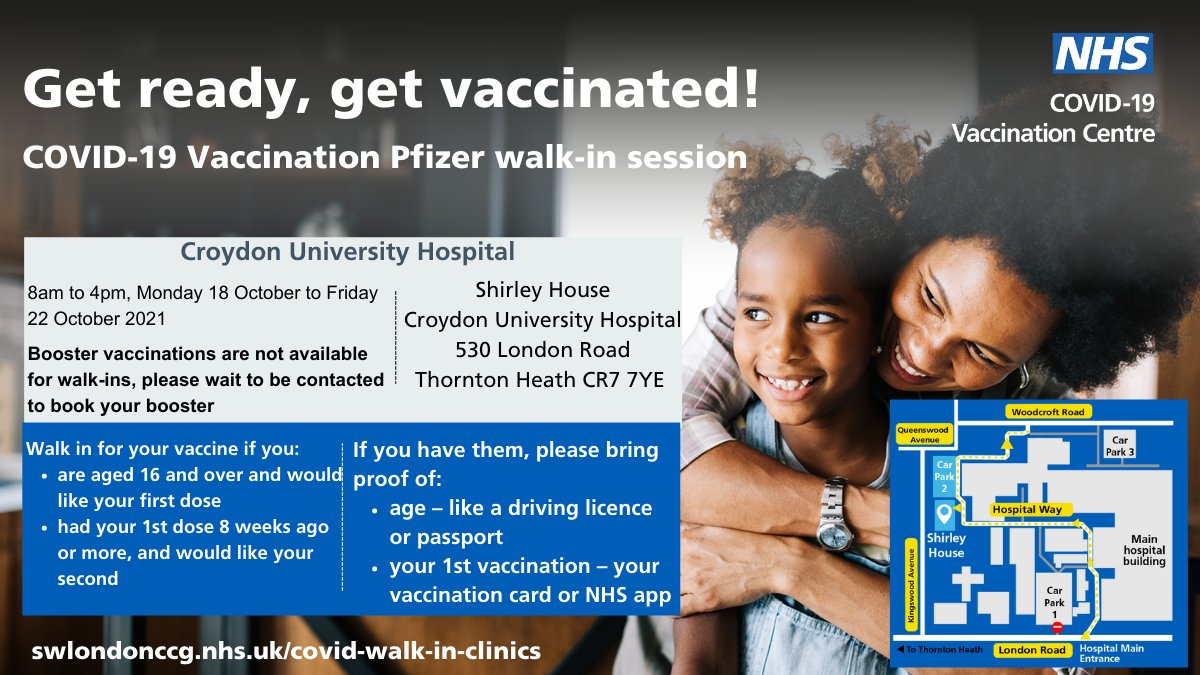 Pfizer walk in vaccination clinic Daily until Friday 22 October, 8 am to 4pm Aged 16+ for first dose or had your first dose 8 weeks ago