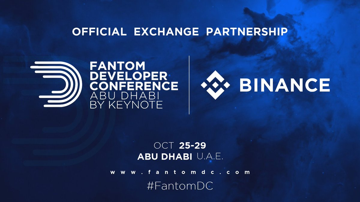 We are happy to announce @binance as the official exchange partner of the Fantom Developer Conference in Abu Dhabi happening on October 25-29, 2021 at Emirates Palace. fantomdc.com #fantomdc @fantomfdn @harryyeh @keynote_ae
