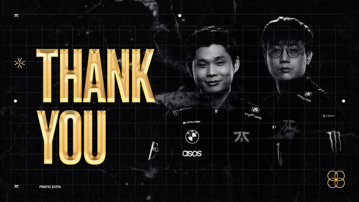 Today we sadly bid farewell to @ChYuaNDota2 and @dethdota. Despite being first-timers, they stood their ground and gave it all against the best teams in the world. We'll always be grateful for their remarkable contributions under the Fnatic colors. Once Fnatic, #ALWAYSFNATIC.