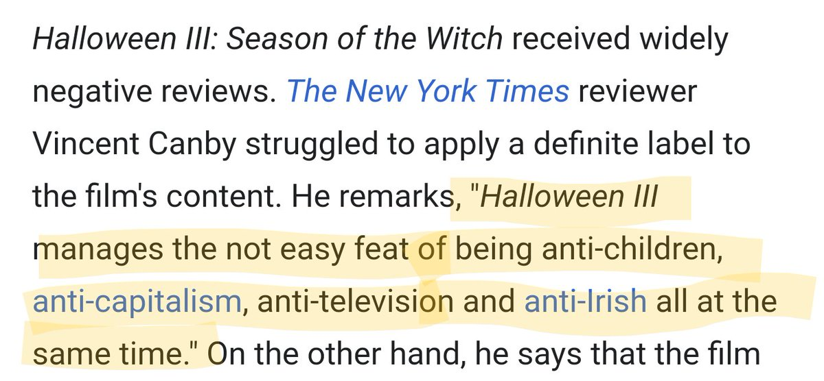This is a negative review of Halloween III that makes it sound like the greatest movie ever made