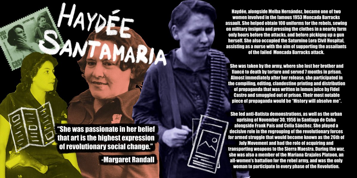 Haydée Santamaria (December 11, 1922 - July 28, 1980) known as the Heroine of Moncada, shows us how essential cultural work is to process of social change. Brought to you by History #FromUnderTheEmpire