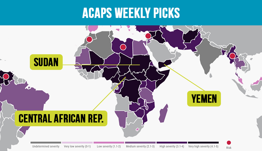 Our team focuses this week on the following #humanitarian crises:  #CARcrisis: Ceasefire & end of military ops across CAR #Sudan: Large-scale protests, access constraints & commodity shortages #Yemen: Conflict in #Marib & 35,000ppl affected in #AlAbdiyah ➡️acaps.org/weekly-picks/2…