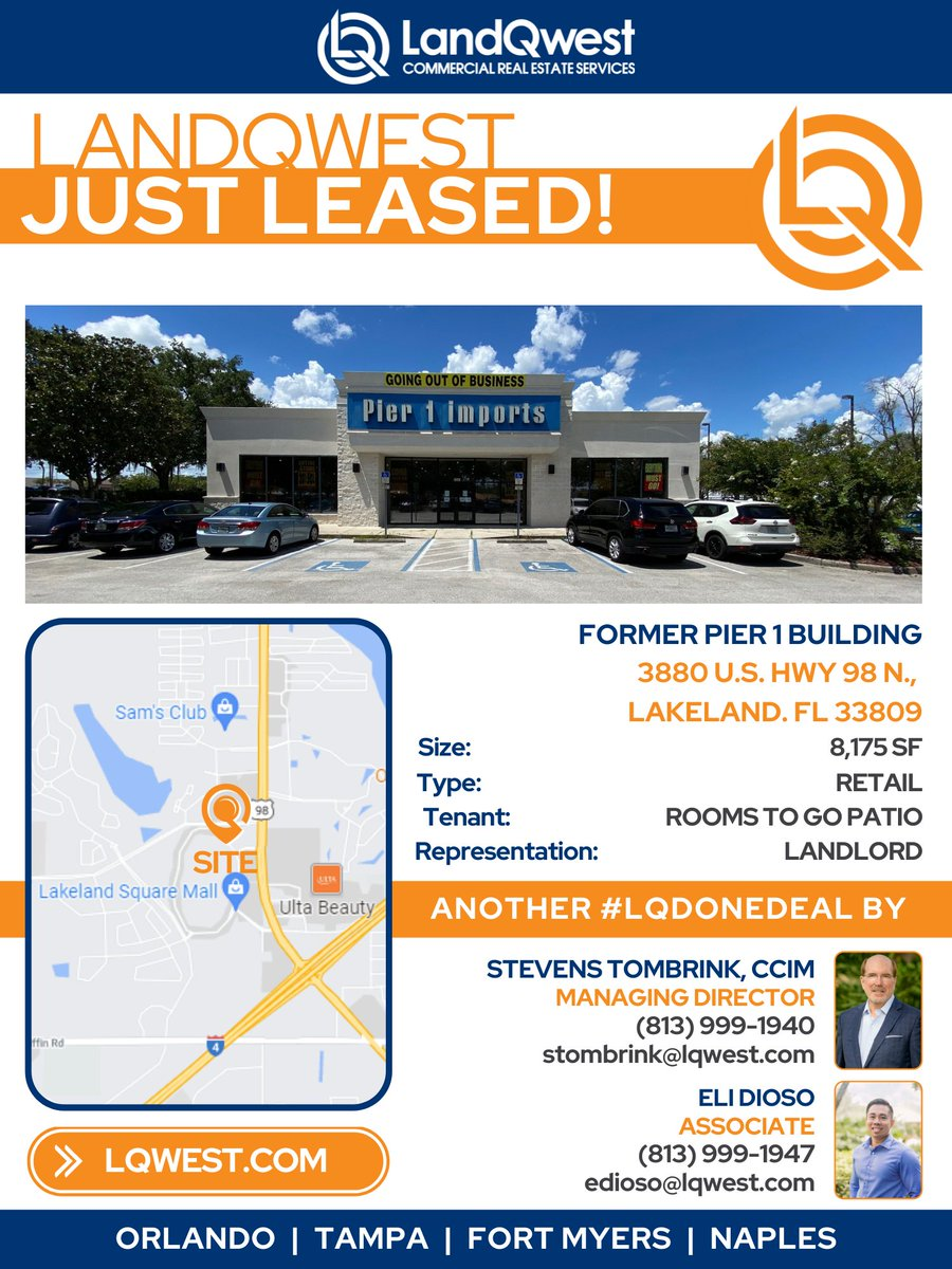 🎉DONE DEAL:  8,175 SF of former Pier One leased by Rooms To Go Patio! Congratulations Stevens Tombrink, CCIM and Eli Dioso!  #DoneDeal #LQDoneDeal #LQWest https://t.co/X86ljpQD7U.