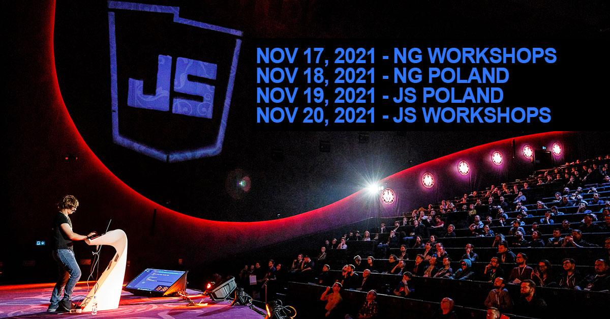 This event promises to be epic! js-poland.pl @codepo8 | @BridgeAR | @wa7son @matteocollina | @BenLesh | @nirkaufman | @_jayphelps | @Michael_Hladky | @ShmuelaJ | @gerardsans | Chen Salomon | @MartaW_PL | @ManfredSteyer | @joe_sepi | @shai_reznik and meny more!