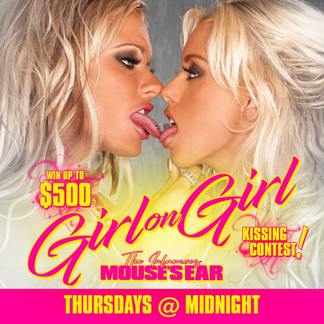 ATTENTION LADIES! TONIGHT we're hosting a #GirlonGirl #KissingContest with up to $500 cash prize for #HottestKiss! #PuckerUp😘 👩❤️💋👩 💋 👄 . . . #GG #LadiesNight #LadiesOnly #GirlsWhoKissGirls #sexy #TheMousesEar #JohnsonCity #StripJoint