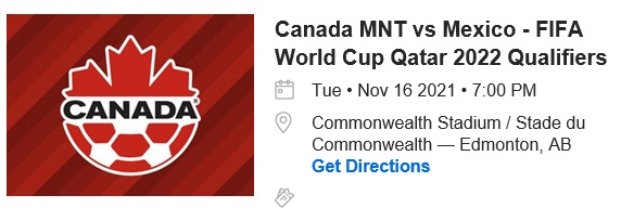 Yaaaaas!  Got my tickets... @CanadaSoccerEN vs Mexico... at Commonwealth Stadium!   Went to Toronto to see them play El Salvador... @AlphonsoDavies didn't play... here's hoping the second time is the charm ;)   #CanMNT #WCQ2022 #yeg https://t.co/WC7odghE4w