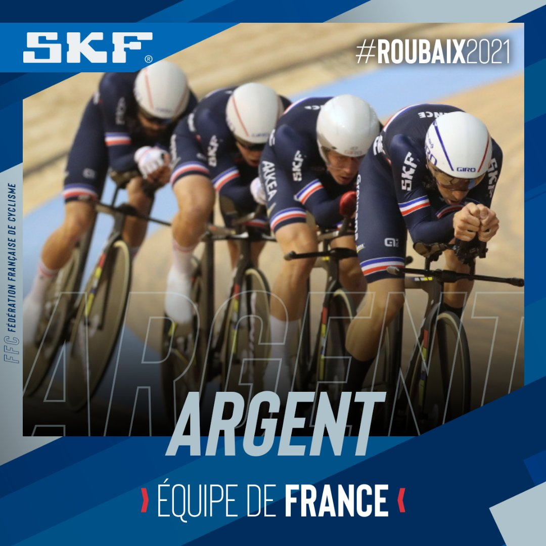 Benjamin Thomas vice-champion du monde de poursuite par équipe au sein du quatuor français. Sa première médaille sur cette édition 2021 à Roubaix.