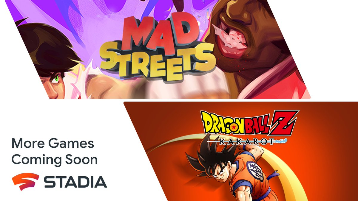 Next up, on Stadia: 💥 Become a Super Saiyan in #DBZK 👊 Settle some scores in @madstreetsgame These hands are rated E for Everyone: goo.gle/3CaM90U