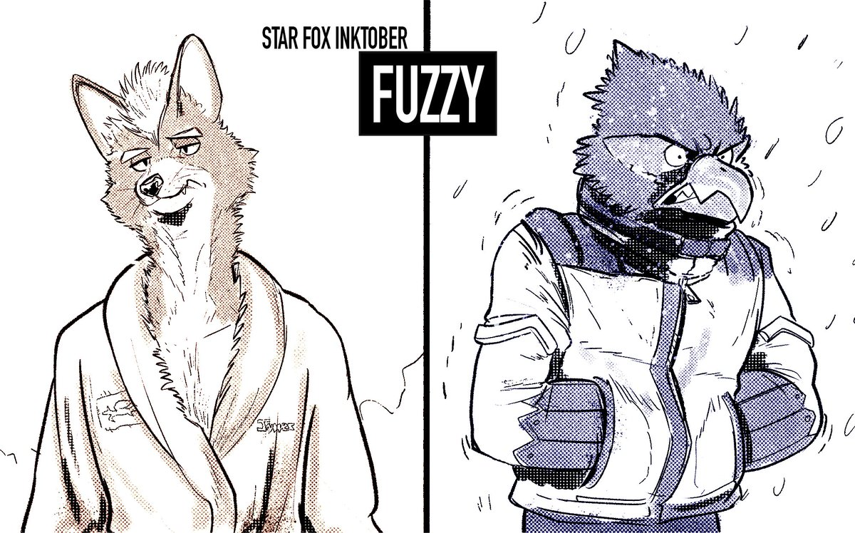 #starfox Inktober - Fuzzy Fox McCloud after showering or Falco Lombardi in cold temperatures. The fuzziest? You decide!