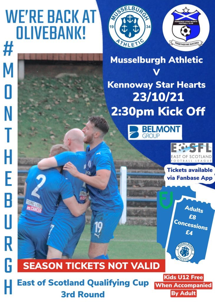 test Twitter Media - SATURDAY'S MATCH  📅 23/10/21 🆚 Kennoway Star Hearts 📍 Olivebank 🏆 East of Scotland Qualifying Cup (3rd Round) ⌚️ 2:30pm 💷 Adults: £8 Concession: £4  👨👩👧👦 Kids U12 free when accompanied by an adult 🎟 Available now on the Fanbase App  #MonTheBurgh 💙 https://t.co/UZ35i22bxA