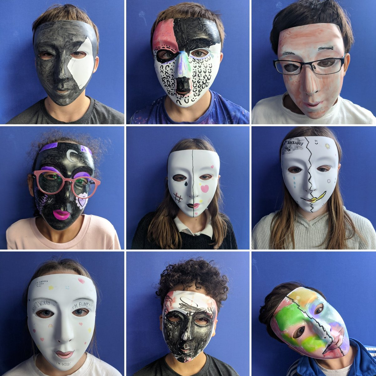 Our finished masks to celebrate #MentalHealthDay - thinking about the spectrum of emotions we experience. #PSHE #MentalHealthMatters #mask @FairlawnPrimary