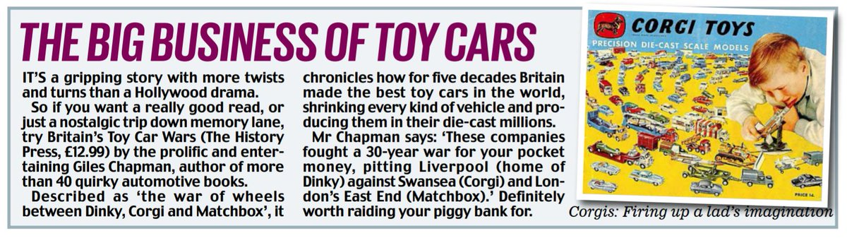 Is this the ultimate #ToyStory ? Britain's toy car wars revealed in new book. Read me @DailyMailUK @MailOnline . @ChapmanOnCars @TheHistoryPress @corgi #Matchbox #Dinky @Hot_Wheels @theJeremyVine @AAPresident Extended online: thisismoney.co.uk/money/cars/art…