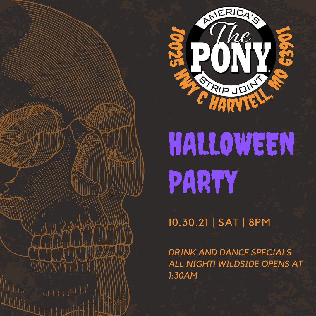 We're excited about our upcoming Halloween Party! Hope to see ya'll there! We will be having dance and drink specials all night and a costume contest! . . . #Halloween #CostumeContest #PartyandPlay #Fun #DrinkSpecials #Sexy #ThePonyClub #PoplarBluff #StripJoint #PonyPoplarBluff