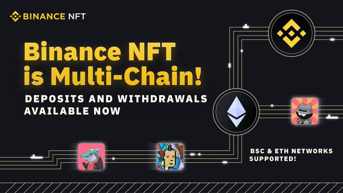 #Binance NFT Marketplace artık multi-chain hizmet verecek. Yalnızca #BSC ağında çalışan Marketplace, #Ethereum ağındaki #NFT'ler için de alışverişe açıldı.
