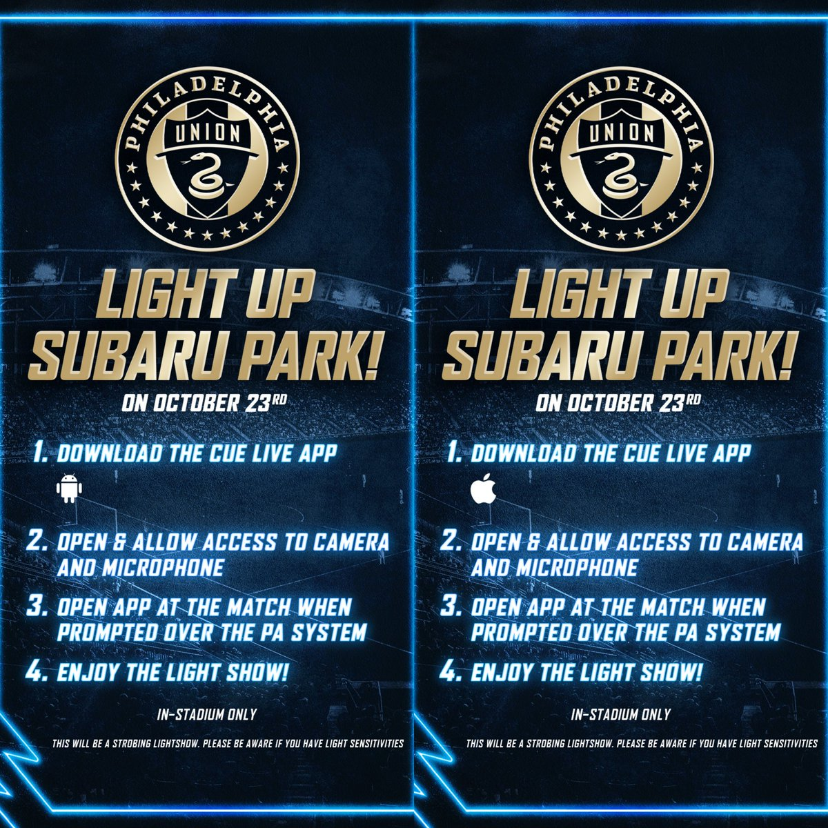 Hey everyone! This Saturday the @PhilaUnion need our help to light up @Subaru_Park! It's fast and easy! 👇Follow the steps below👇