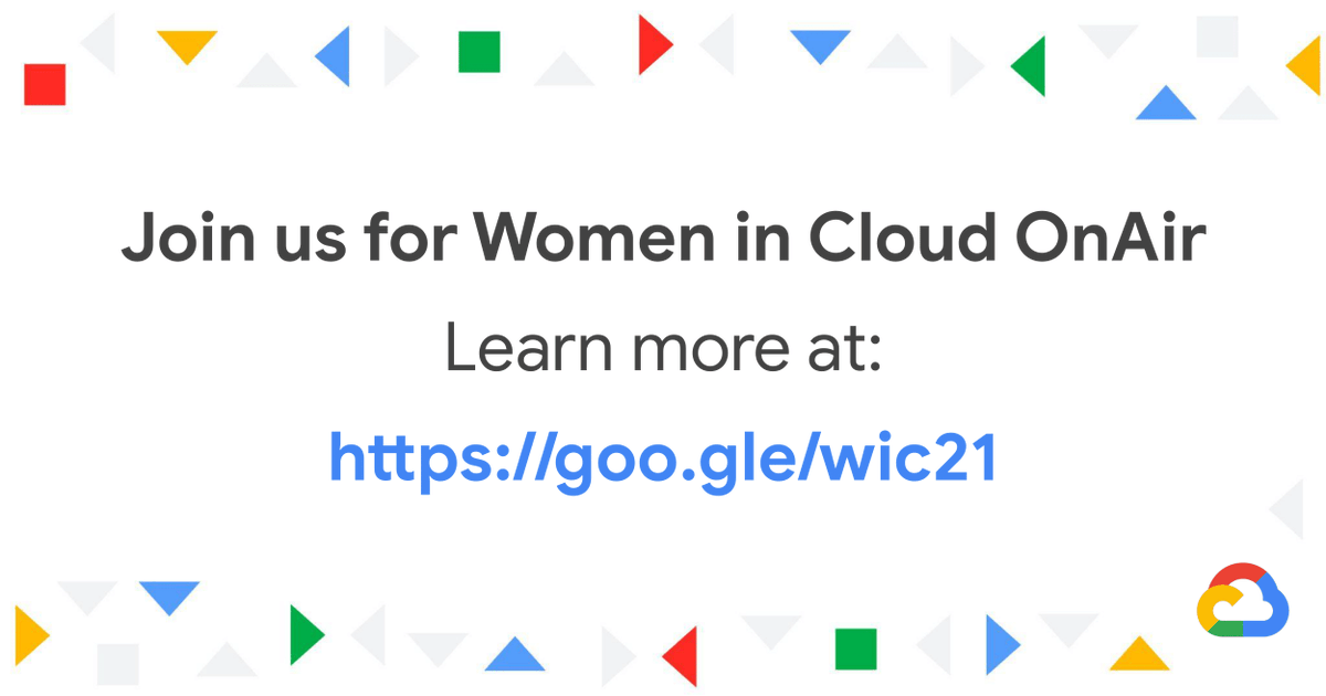 Registration is now open for Women in Cloud OnAir, where we'll highlight the achievements of women across Google Cloud and celebrate our global community 🌎🎉! Learn more & register ➡️ goo.gle/wic21