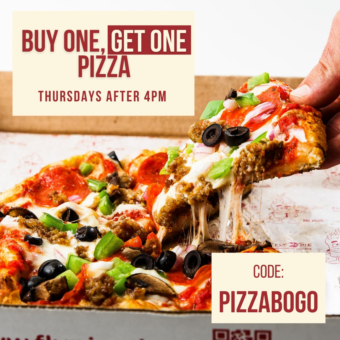 Bogo Thursday is today!  Buy one pizza. Get one pizza FREE  Use Promo Code PIZZABOGO Valid only on Thursdays after 4pm. *Offer may not be combined with other offers or discounts.*  #flypiepizza #flythetunnel #discount #vegasdiscount