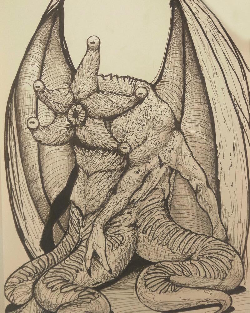 🦑There were non-Euclidian forms everywhere: cones of all degrees of irregularity & truncation; terraces of every sort of provocative disproportion; shafts with odd bulbous enlargements; & five-pointed or five-ridged arrangements of mad grotesqueness🎨Rafael Melo🦑#HPLovecraft