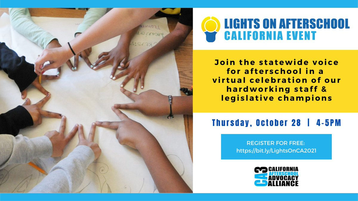 Looking forward to hearing from @CAgovernor's office & #afterschool students for #LightsOnAfterschool!