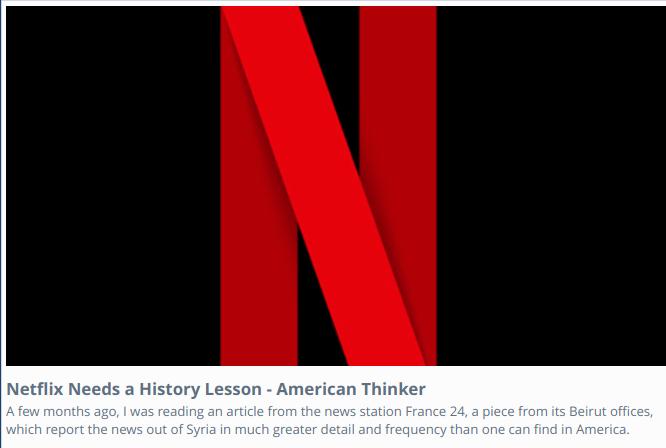 #Netflix Needs a History Lesson americanthinker.com/articles/2021/…  #BoycottNetflix!  #EndJewHatred