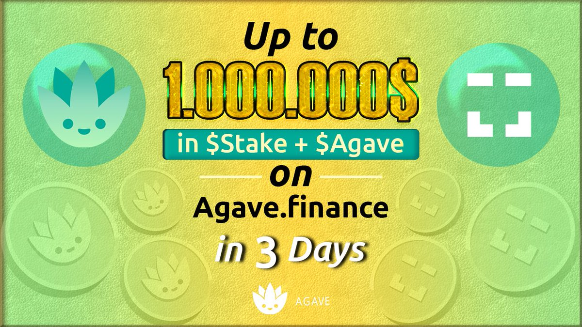 Liquidity Incentives on Agave...here we come! Up to 1,000,000$ in $Stake + $Agve rewards live in...3 Days! 🥳 @xdaichain let's go! 🔥🔥🔥 When: October 25th Where: agave.finance Learn more: youtube.com/watch?v=X9aZfi… Join our Telegram: t.me/Agave1Hive