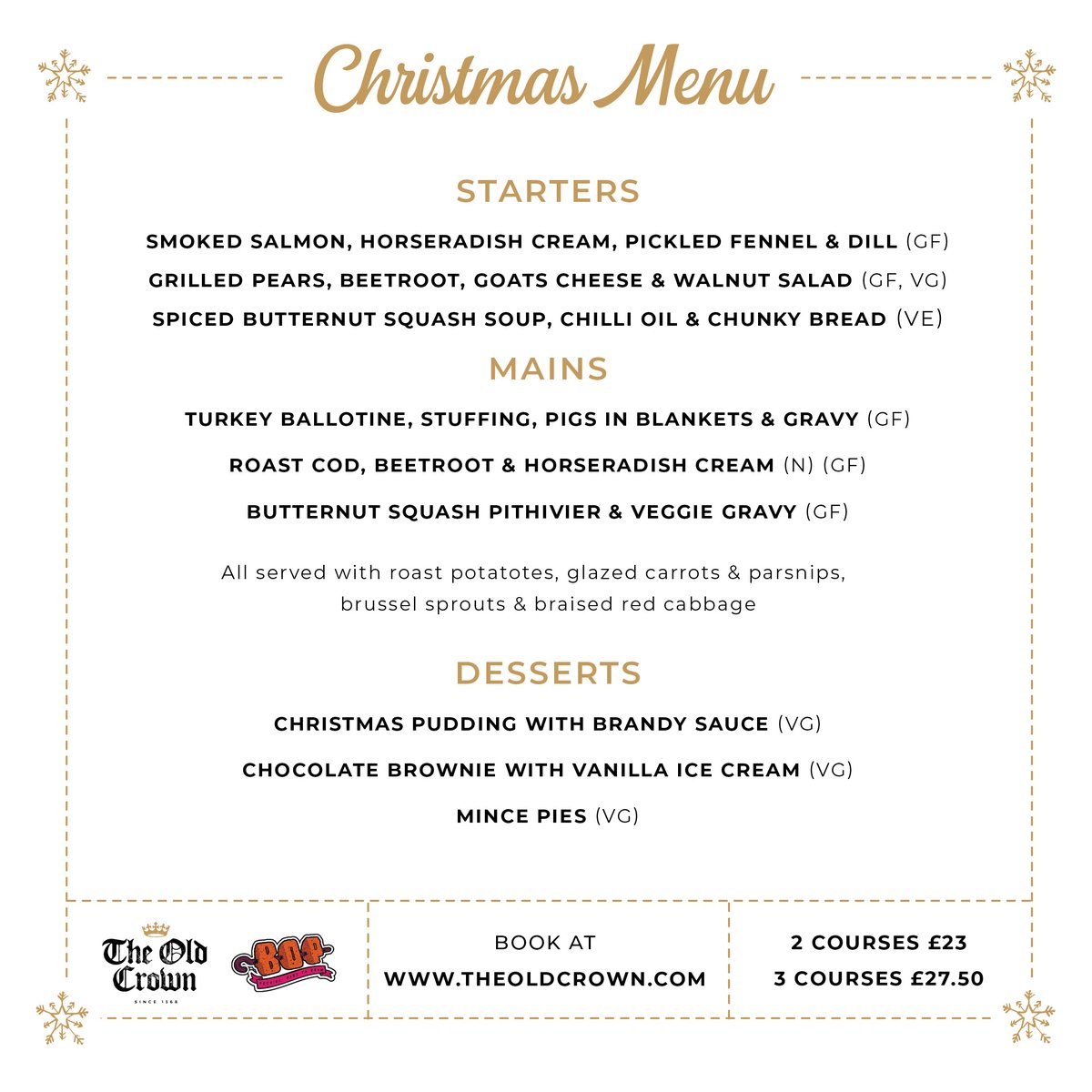 Good news for you forward-thinking Christmas planners... We've teamed up with Bop Kebabs to bring you the finest festive menu in Digbeth with three tasty courses packed with all the delicious flavors of Christmas running through Nov + Dec🍴🎄 BOOK bit.ly/crownxmasbook