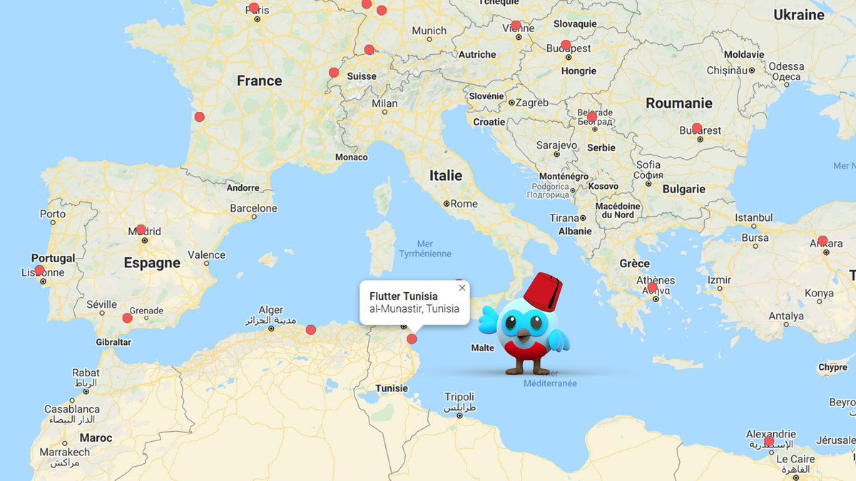 #FlutterTunisia is listed in the #FlutterMeetupNetworkMeetup's map 🎊  @flutter_TN 💙  Join us, invite your friends to join our first meetup meetup.com/fr-FR/flutter-… 💙  #Flutter #FlutterDev #Google #DartLang #FlutterCommunity