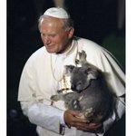 Pope John Paul II holding a koala, in Brisbane November 25, 1986