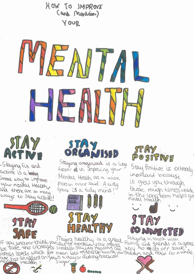 Sophia A in Year 7 (Newton) is the winner of our World Mental Health Day inter-house competition - look at this fantastic poster she designed. Well done Sophia! #WorldMentalHealthDay #MentalHealthMatters