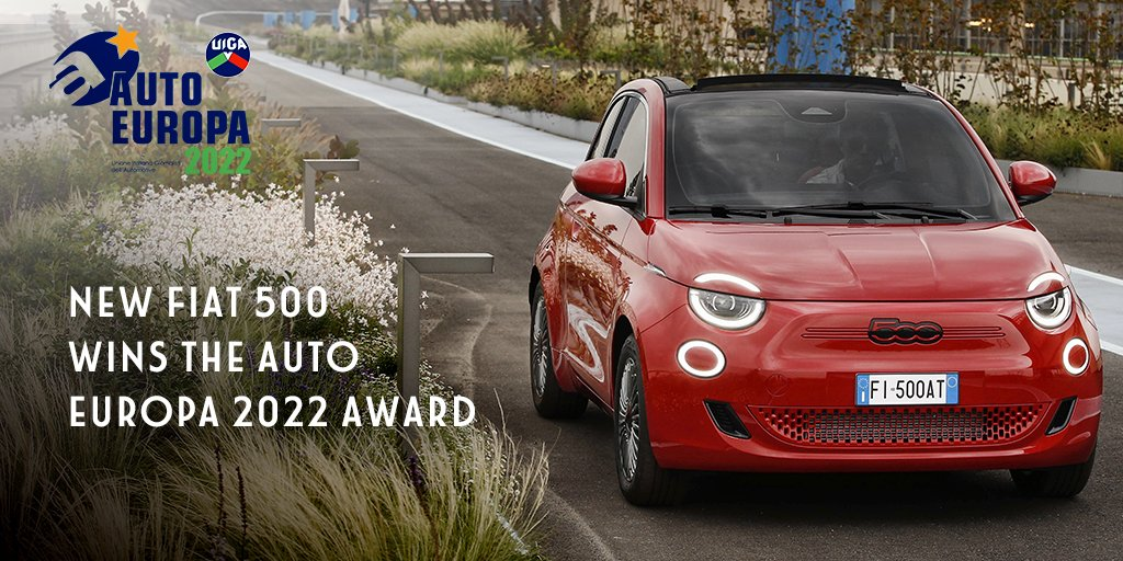 """For the eighth time, the New Fiat 500 wins the UIGA """"AUTO EUROPA"""" award for innovation, design and quality. A new goal, symbol of the strong tradition behind the Fiat brand, ready to take on the new challenges for urban sustainability. #New500 #New500RED https://t.co/DVEuRzJupY"""