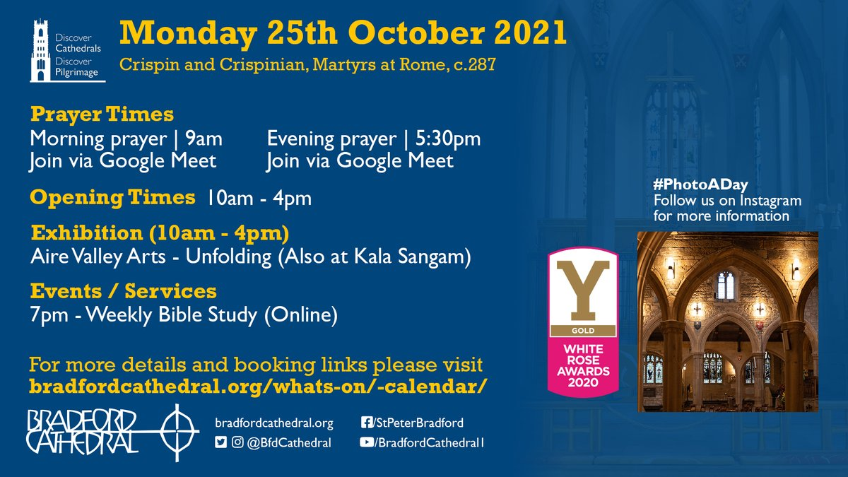 What's happening on Monday 25th October?  Find out more at bradfordcathedral.org/whats-on/-cale…  #VisitBradford #Bradford2025 #Visit #Prayer #Cathedral #thingstodo