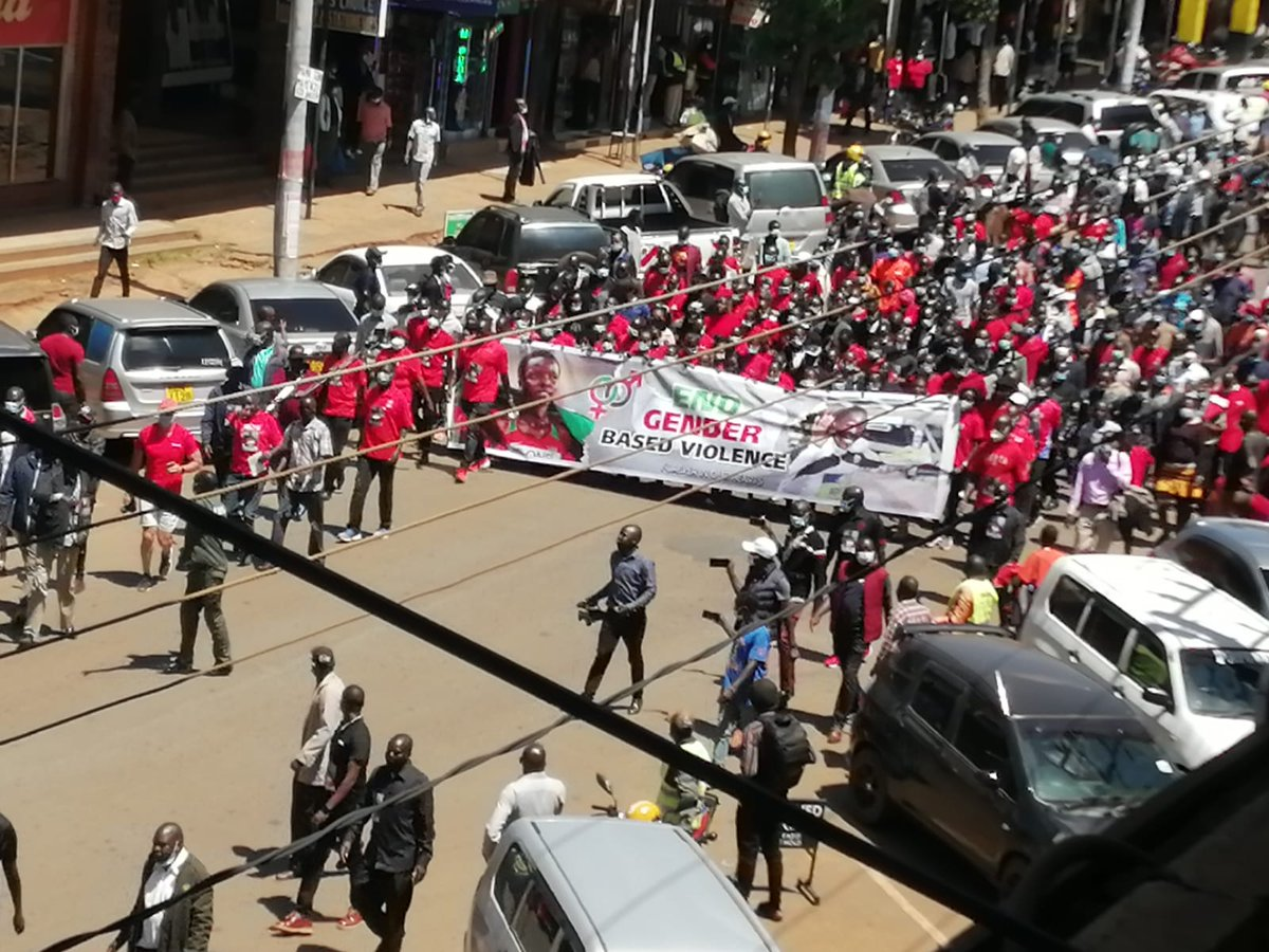 Happening now in Eldoret. Athletes in huge march to protest Gender Based Violence following the gruesome and senseless murder of Olympian and record holder. #AgnesTirop PHOTOS courtesy Chepkwony.