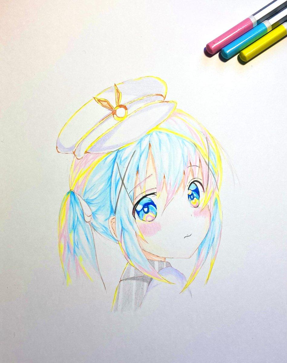 チノちゃん💙ごちうさリプトン!飲みながら〜描いてみました🤤私は、チノちゃんミルクティーgetできました🙌)12月2日に向けて、時間をかけたチノちゃん&レムりんを一枚に描こうかと計画中…(*´꒳`*)←わかる方には…💕)♡RTリプふぉろー良かったら🙇♀️#模写 #ごちうさ #色鉛筆