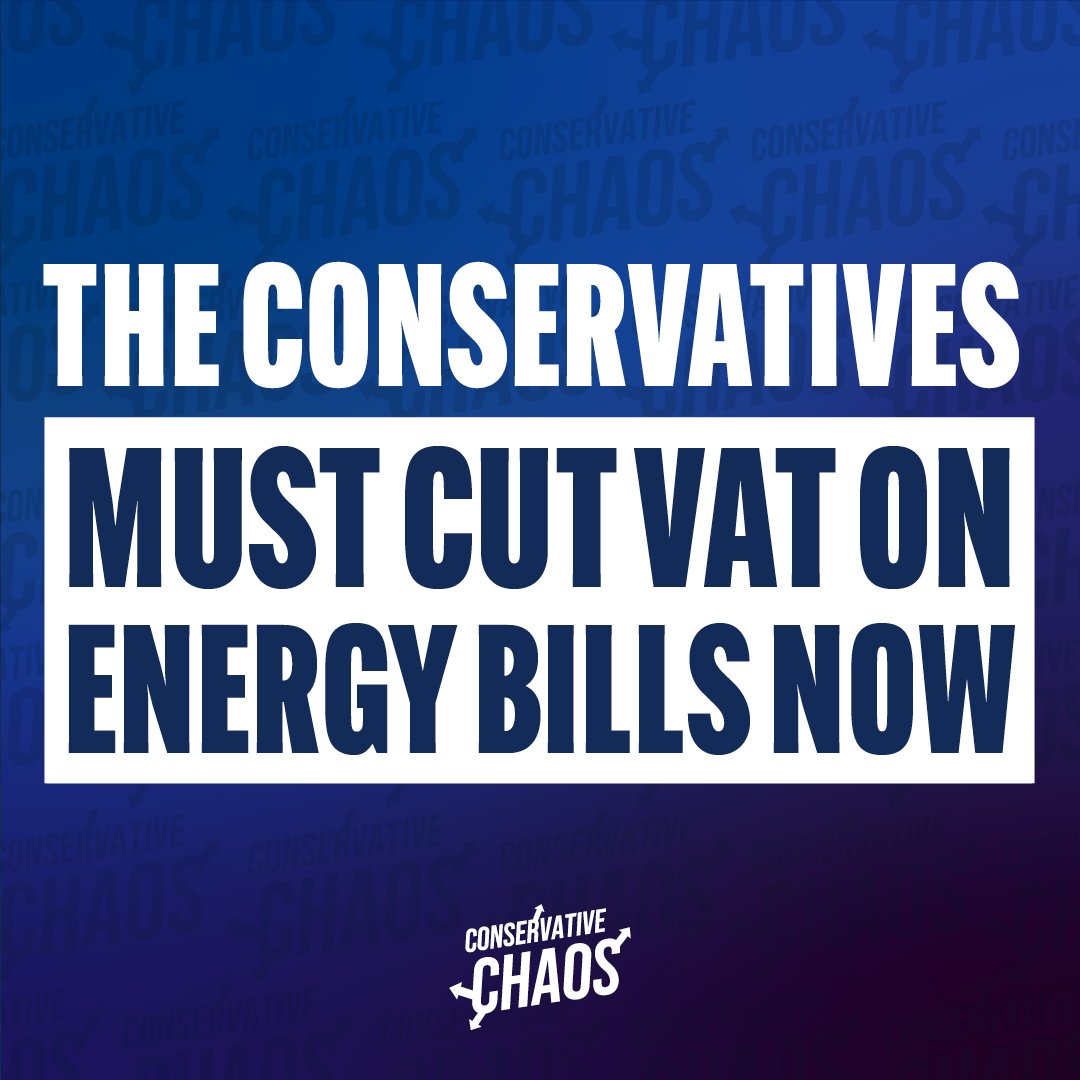 Under the Conservatives, energy bills are rising for working people. We think the Government should immediately cut VAT on them for six months to stop costs spiralling. Agree? Share this.