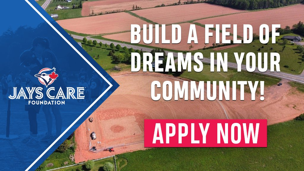 In 2021, our Field Of Dreams program invested over $1 million in community baseball diamonds across 🇨🇦! Your community could be next! 👀 Applications for a 2022 Field Of Dreams grant close in ONE week 👉 jayscare.com/fieldofdreams